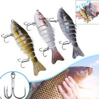 Fishing Lures 6 Segment 3D Fish Bass Trout Minnow Tackle Hook Crank Swim Bait