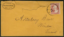 US 1857 #26 Early Advertising Cover Market Bank Troy NY to Windsor VT