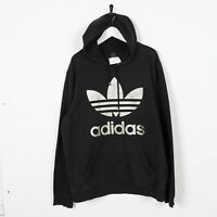 Vintage ADIDAS ORIGINALS Big Trefoil Logo Hoodie Sweatshirt Black | Large L