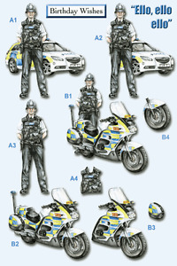 Craft UK A4 Die Cut Decoupage Sheet Line 723 - At Your Service - Police