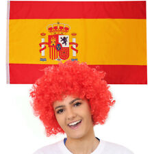 RED AFRO AND SPANISH FLAG SPAIN NATIONAL COUNTRY FLAGS SPORTS FOOTBALL EVENT