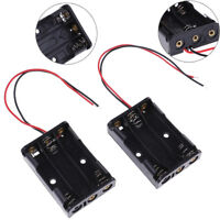 2 Pcs black plastic battery holder case wired for 3 x AAA 4.5v with lead wire_WK