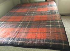 Vintage Biederlack Blanket Throw Brown Orange Rust Plaid Reversible