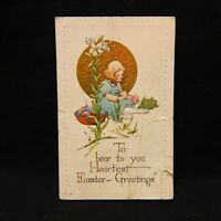 POSTCARD EASTER GREETINGS YOUNG GIRL PAINTING EGGS POSTMARKED 1918 EMBOSSED