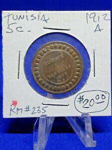 COIN  TUNISIA 5 CENT 1912 KM# 235 - circulated