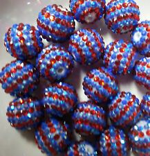 20pc 20mm 2 stripe Blue n Red Rhinestone beads Bubblegum Chunky Beads US Seller