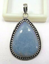 19.4 Grams 925 Sterling Silver Plated Natural Angelite Gemstone Jewelry Pendant