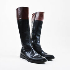 Ann Demeulemeester Black Brown Leather Knee High Flat Riding Boots SZ 38