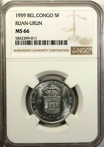 Belgian Congo 5 Francs 1959 NGC MS 66 UNC Aluminum NGC Census 5/1