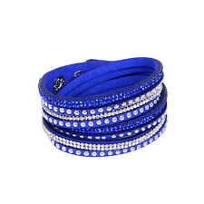 Women Leather Wrap Wristband Cuff Rock Punk Crystal Rhinestone Bracelet Bangle