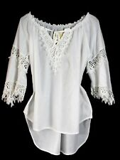 Top blusa bianco pizzo 100% cotone white lace cotton blouse cover up beach Italy