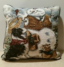 """Currier and Ives Pillow ~Unique Country Style Snowman ~ Dog & Cat ~ Winter 14"""""""