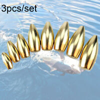 3Pcs Fishing copper Sinkers Bullet Shape Flipping/Worm Weights Hot Sale