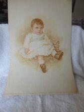 ANTIQUE 1892 BABY Print Little Wide-Awake Mary Eley 1 of 40 Art Amateur Magazine
