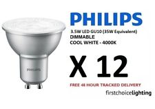 12 x Philips 3.5W (35W) Low Energy DIMMABLE GU10 LED Spot Lamps Bulbs Cool White