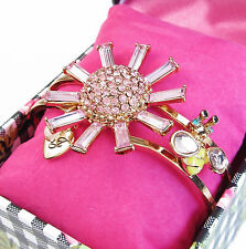 BETSEY JOHNSON Pink Flower & Bee Rose Gold-Tone Hinge Bangle Bracelet w/Gift Box