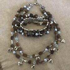 Brighton ZEN Necklace/Bracelet, Hearts, Wood Beads, Crystals, Silver Spacers