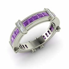 Certified 1.18 Cts Princess Amethyst & Diamond 14k White Gold Eternity Band Ring