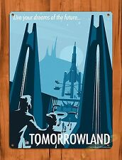 "TIN SIGN Walt Disney ""Tomorrowland"" Vintage Ride Art Poster"