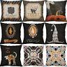 """18"""" Halloween Owl Cushion Cover Cotton Linen Pillow Case Sofa Home Decor"""