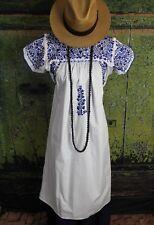 White Cotton & Blue Hand Embroidery Mexican Wedding Dress Oaxaca Mexico Hippie