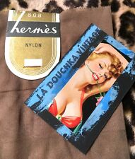 Hermes French 1940s Women Seamed Stockings~Luxurious Sheer Nylon~Unused & Tag~M
