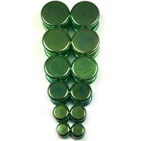 V146 Green Steel Fake Cheaters Illusion Faux Flat Plugs 4G 2G 0G 00G 7/16 1/2""