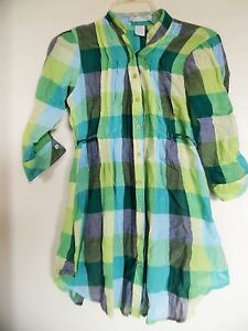Plaid 3/4 Sleeve Button Down Tunic By Charlotte Russe - S
