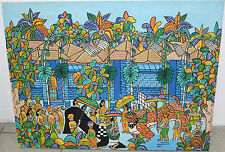 """Zug zum Tempel"", Öl auf Leinwand von Inj Djati, Bali, 60x79cm"