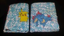 Vintage Pokemon Twin Bedding Set 1 Fitted & 1 Flat Sheet Pikachu Fabric 1998