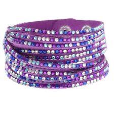 Purple Mix Double Wrap Pave Crystal Slake Bracelet made with Swarovski Elements