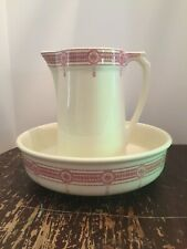 Antique Boch LA Louviere Flandria Wash Bowl and Pitcher Made In Belgium