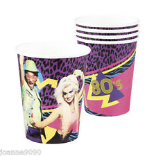 6 Paper Cups 1980s 80s Birthday Reflex Party Partyware Tableware Decoration Set