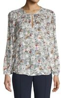 Rebecca Taylor Long Sleeve Ruby Floral Silk Blend Blouse Pullover Size 10