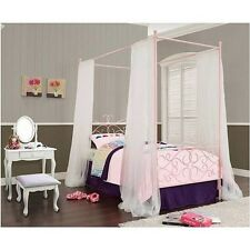 Pink Twin Size Princess Bed For Girls Canopy Posts Wrought Iron Finial