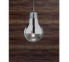 Lampadario sospensione lampadina design moderno acciaio cromato camera cucina