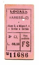 BIGLIETTO FERROVIARIO  EDMONSON    VARESE  MILANO C   E  BOVISA   9-9-1945
