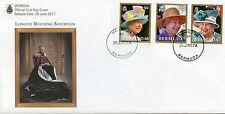 Bermuda 2017 FDC QEII Queen Elizabeth II Longest Reign 3v Cover Royalty Stamps
