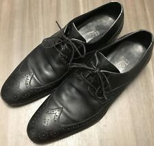 Salvatore Ferragamo Mens 9 EE Lavorazione Originale Black Oxford Wingtip Shoes