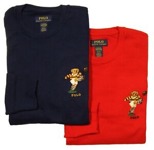 Polo Ralph Lauren Men's Rugby Bear Graphic Waffle Knit Thermal Long Sleeve Shirt