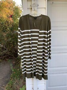 NWT Talbots Pretty Olive & White Linen Striped Fly-Away Long Cardigan 2X 18W 20W