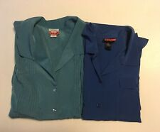 Women's Two Blouses, Blue and Slate Teal, Short Sleeve, Button Up, 3X