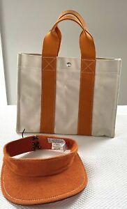 HERMES Borabora Tote Bag & Orange Chapeaux Motsch Pour Hermes Matching Visor