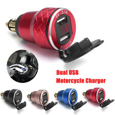 12V 24V LED Display Motorcycle Dual USB Charger Socket Power Adapter Motorbike