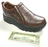Roper Performance Sport Slip On Shoes Ostrich Print Brown Leather Men's 8 EUC