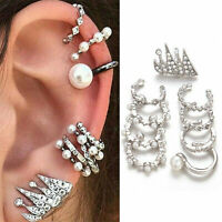 Women Fashion 925 Silver Ear Earrings Wrap Clip On Punk Rock Cuffs Studs Jewelry