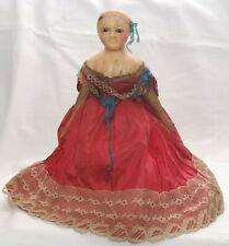 "Rare 9"" Papier Mache Split Wax Head Antique Queen Victoria Doll Silk Dress A/F"