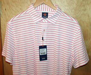 Donald Ross SPORT Finnley Polo Golf Shirt White Peony Pink Stripe Medium NEW