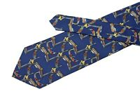 Karin Venezia silk tie Extra long blue necktie Venice gondola and St Mark lions
