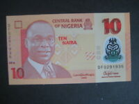 NIGERIA 2009 POLYMER ISSUE - 10 NAIRA DATED 2016 P39g? -7 NUMBER SERIAL-UNC